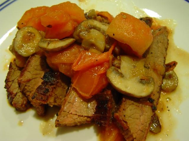 Grilled Flank Steak with Mushroom Ragout